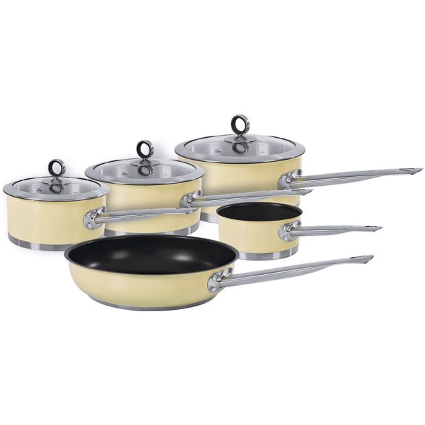 Buy morphy richards accents 5 piece pan set cream at for Kitchen set argos