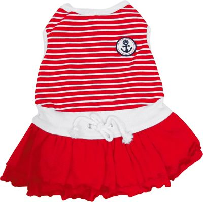 Happy Puppy Dog's Red Sporty Sailor Dress - Extra Small