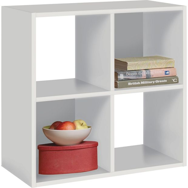 Buy home squares 4 cube storage unit white at for Bedroom units argos