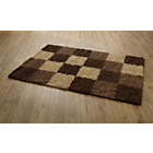 more details on Living Norvik Blocks Shaggy Rug 160x120cm - Chocolate.