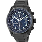 more details on Citizen Mens' Blue Dial Black IP Chronograph Bracelet Watch.