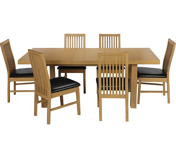 buy collection franklin ext dining table 6 chairs oak. Black Bedroom Furniture Sets. Home Design Ideas
