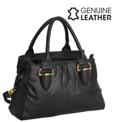 Casa Di Borse Real Leather Grab Handle Handbag - Black