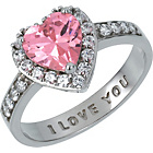 more details on Sterling Silver Pink Cubic Zirconia 'I Love You' Ring.
