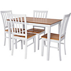 more details on Catalina Dining Table and 4 White and Natural Chairs.