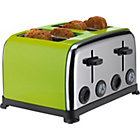 ColourMatch Stainless Steel 4 Slice Toaster - Apple Green