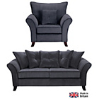 more details on Daisy Large Fabric Sofa and Chair - Charcoal.