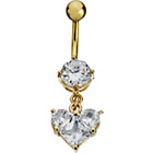 more details on Gold Coloured Stainless Steel CZ Heart Dropper Belly Bar.