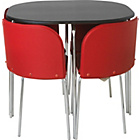 more details on Hygena Amparo Dining Table and 4 Chairs - Black/Red.