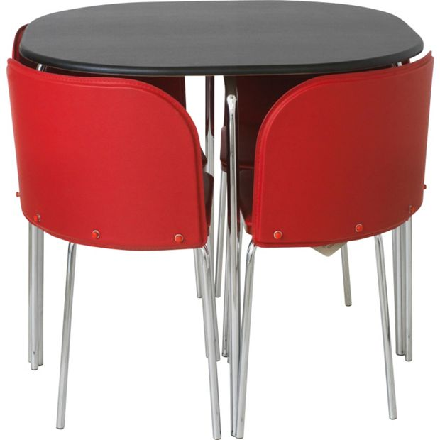 Buy hygena amparo dining table and 4 chairs black red at for Red dining room table and chairs
