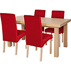more details on Cosgrove Ext Oak Stain Dining Table & 4 Red Chairs.