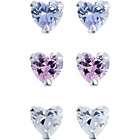 more details on Sterling Silver Heart Stud Earrings - Set of 3.