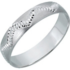 more details on 9ct White Gold Diamond Cut Satin Wedding Ring - 4mm.
