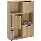 more details on Slim Cube 3 Door DVD and CD Media Storage Tower - Oak Effect