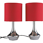 more details on ColourMatch Pair of Touch Table Lamps - Poppy Red.