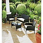 more details on Rattan Effect 4 Seater Garden Patio Furniture Set - Black.