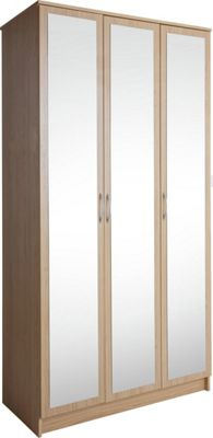 Buy Collection Cheval 3 Door Mirrored Wardrobe Oak