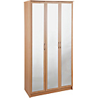 more details on Collection Cheval 3 Door Mirrored Wardrobe - Beech Effect.