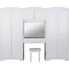 more details on HOME Nordic Wardrobe Fitment, Mirror and Stool - White.