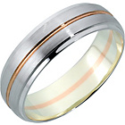 more details on 9ct White and Rose Gold Diamond Cut Wedding Ring - 5mm.