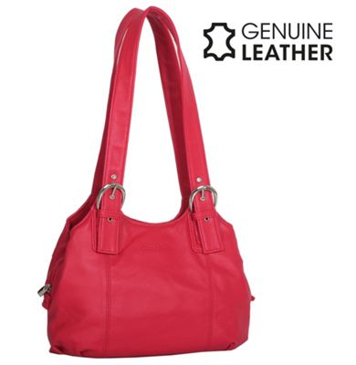 Casa Di Borse Real Leather Shoulder Handbag - Red