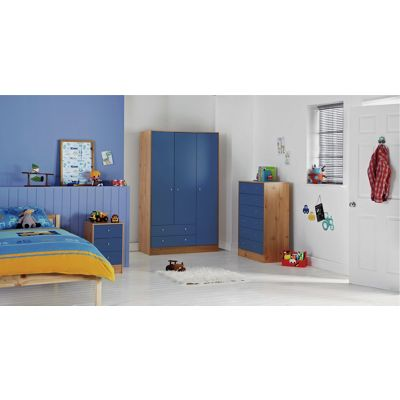 Malibu 3 Door 2 Drawer Wardrobe - Blue on Pine