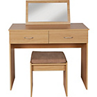 more details on Cheval Dressing Table, Stool and Mirror - Oak Effect.