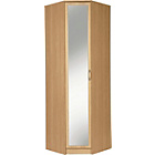 more details on Collection Cheval 1 Dr Mirrored Corner Wardrobe-Beech Effect