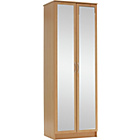 more details on Collection Cheval 2 Door Mirrored Wardrobe - Beech Effect.