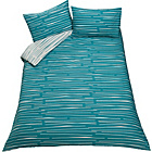 more details on Dashes Blue and White Bedding Set - Double.