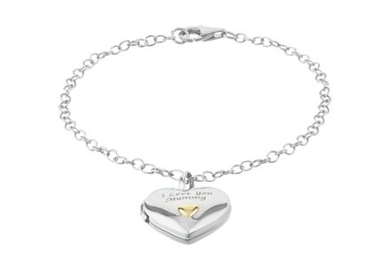 Cut out image of a Sterling Silver 'I Love You Mummy' Heart Bracelet.