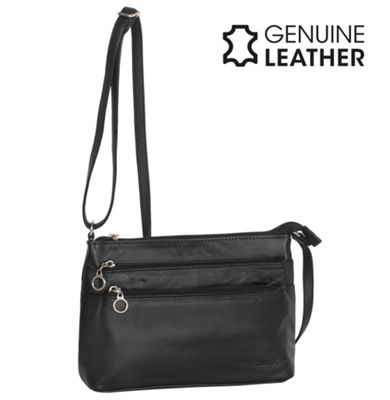 Casa Di Borse Real Leather Tri-Zip Handbag - Black
