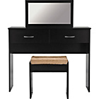more details on Cheval Dressing Table, Stool and Mirror - Black.