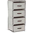 more details on Metal and Polycotton 4 Drawer Storage Unit - Cream.