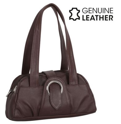 Casa Di Borse Real Leather Shoulder Handbag - Brown