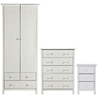 more details on Scandinavia 3 Piece 2 Door 3 Drawer Wardrobe Package -White.