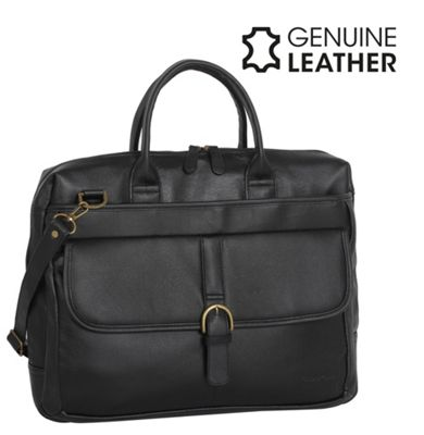 Casa Di Borse Real Leather Business Shoulder Handbag - Black