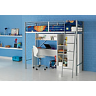 more details on Metal High Sleeper Bed Frame with Wardrobe and Desk - White.