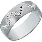 more details on 9ct White Gold Diamond Cut Satin Wedding Ring - 6mm.