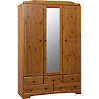 more details on Nordic 3 Door 5 Drawer Mirrored Wardrobe - Pine.