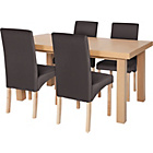 more details on Cosgrove Ext Oak Stain Dining Table & 4 Charcoal Chairs.