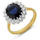 more details on 9ct Gold Plated Silver Blue Sapphire CZ Cluster Ring.