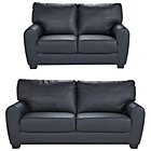 more details on HOME Stefano Large and Regular Leather Sofa - Black.