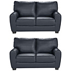 more details on HOME Stefano Leather Regular and Regular Sofa - Black.