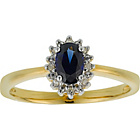 more details on 18ct Gold Plated Created Sapphire & Diamond Ring