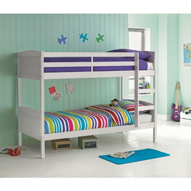 Buy detachable single bunk bed frame white at for Beds for sale uk