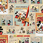 more details on Disney Mickey Mouse Vintage Wallpaper Sample- Multicoloured.