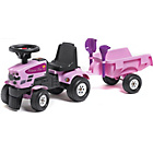 more details on Pink Tractor and Trailer with Tools Spade and Rake.