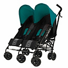 more details on Obaby Apollo Black and Grey Twin Stroller - Turquoise.