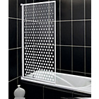 more details on Fully Framed White Spotted Patterned Shower Screen.